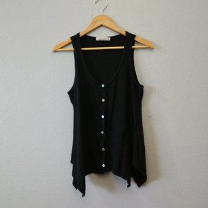 Cut Loose Black Tank Top Button Handkerchief